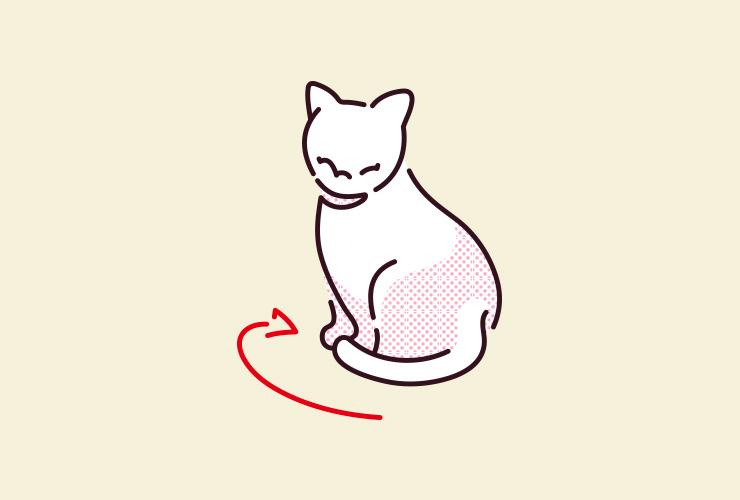 猫がしっぽを巻き付けているイラスト
