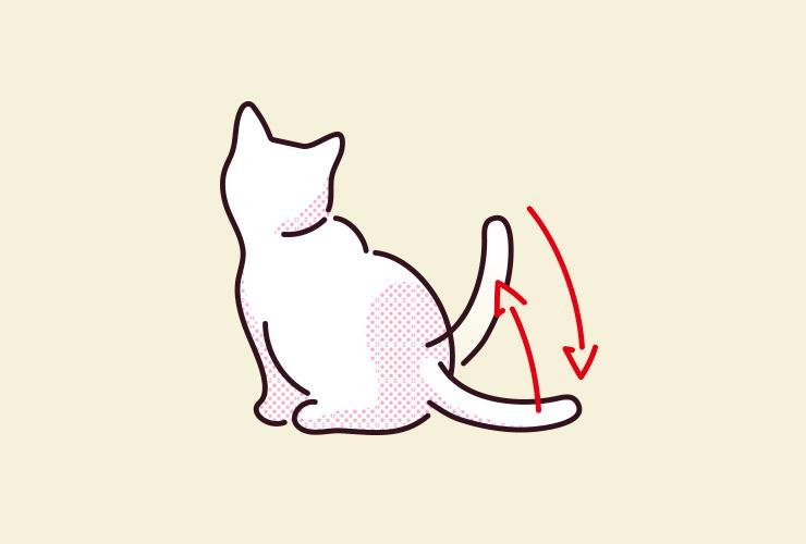 猫が座った状態でしっぽをパタパタと上下に動かしているイラスト